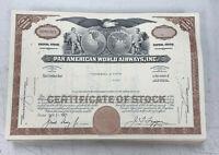 Pan Am Pan American World Airways Stock Certificate (Brown) 1966-1970