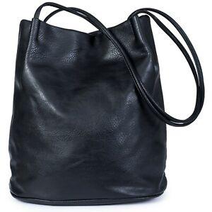 BHSL Womans Designer Plain Soft Faux Leather Hobo Bucket Shoulder Bag