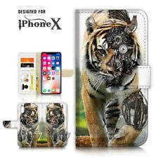 ( For iPhone X ) Wallet Case Cover P21456 Tiger