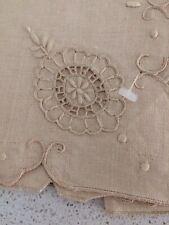 6 VintageTan Beige Lt Brown Napkins Linen Embroidery Cutwork Nwot Other 2 xtra