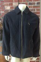 VTG Tommy Hilfiger Mens L Wool Blend Jacket Coat Charcoal Full Zip Quilted