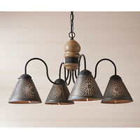 Cambridge Four-arm Wooden Chandelier Light with Tin Shades in Pearwood