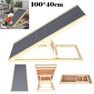 100*40CM Freestanding Dog Ramp Adjustable Heights Non-Slip Carpet Dog Stair Ramp