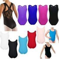 Girls Gymnastics Ballet Tank Leotards Kids Ballet Lace Back Jumpsuits Dancewear