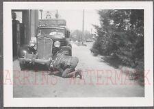 Vintage Car Photo Man & 1934 Chevrolet Chevy Derby Gas Station Pump 743354