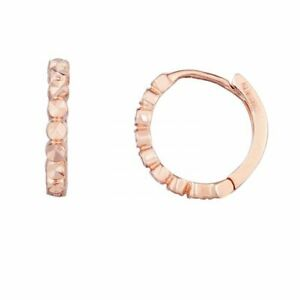"""1/2"""" Round Diamond Cut Huggie Hoop Earrings Real 14K Pink Rose Gold 1.1gr"""