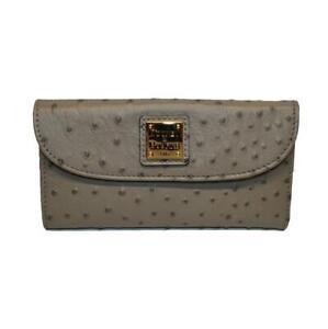 NEW! Dooney & Bourke Continental Ostrich Clutch/Wallet-Grey WO507