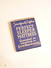Vintage advertising match book cover:  Perfect Sleeper Mattress