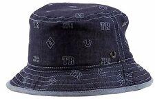 True Religion Men's METAL LOGO/Logo Pattern Twilight Bucket Hat Sz: S/M