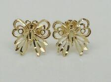 14k Solid Yellow Gold Butterfly Stud Earrings Women/Children Push Back 9MM