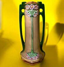 1890 EICHWALD Antique Vase Germany Art Nouveau Jugendstil Floral Pottery Ceramic
