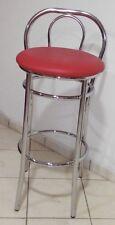 Sgabello alto per snack,bar,slot in finta pelle rosso struttura effetto cromato