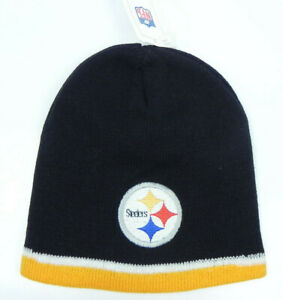 PITTSBURGH STEELERS NFL FOOTBALL VTG BLACK KNIT UNCUFFED BEANIE CAP HAT NEW!