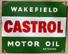Wakefield Castrol Motor Oil Patented Enamel Vintage Sign
