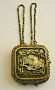 Antique Very Rare Vinaigrette Decorative Brass With A Lovely Carved Central Rose