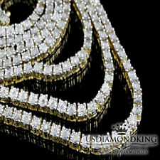 Mens Yellow Gold FInish 1 Row Real Genuine Diamond 38 Inch Tennis Necklace Chain