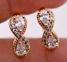 """18K Gold Filled - Chic Swirl """"8"""" Teardrop Clear Topaz Gems Women Party Earrings"""