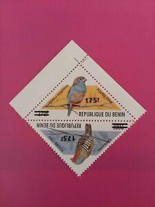 Bénin surchargé overprint 175f sur 200f et 300f neuf MNH oiseau paire triangle