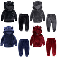 Baby Kid Toddler Boy Girl Hoodies Tops+Pants Outfit Tracksuit Hooded Clothes Set