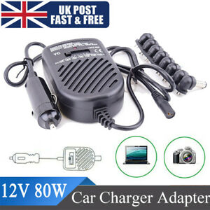 80W Universal Laptop Auto Car Charger Adapter 12V Fit For DELL HP TOSHIBA SONY