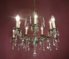 CRYSTAL SILVER NICKEL CHANDELIER GLASS CEILING SMALL LAMP 9 LIGHT
