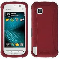 AMZER SILICONE SOFT SKIN JELLY FIT CASE COVER FOR NOKIA NURON 5230 - MAROON RED