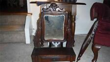 VINTAGE HARDWOOD SHAVING TABLE WITH SWIVEL MIRROR AND DRAWER