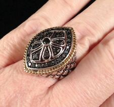 Large Sterling Silver 1Ct Black Diamond Artisan Byzantine Wheat Huge Bali Ring 6