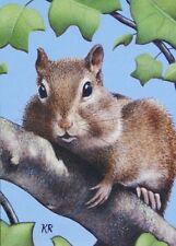 ACEO Giclee miniature art print Ltd chipmunk animal wildlife signed free ship