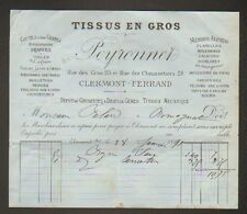 "CLERMONT-FERRAND (63) TISSUS en Gros ""PEYRONNET"" en 1891"
