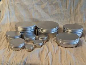 ALUMINIUM TINS JARS POTS CONTAINERS & EPE LINED Screw Lids - Sizes 5ml - 250ml