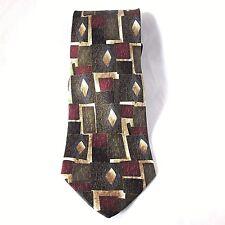 Fratelli Moda Classic Silk Tie Handmade in Italy Green Gold Maroon Necktie