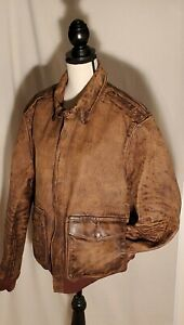 Polo Ralph Lauren Distressed Leather Flight Bomber Jacket Coat Brown $998