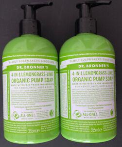 LOT OF 2 Dr Bronner's 4in1 Lemongrass Lime Organic Full Body Pump Soap, 12 Oz Ea