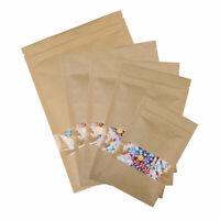 Kraft Paper Bag Seal Packaging Window Sealable Self Sealing Food Storage Pouch