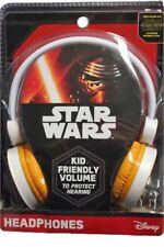 Disney Headphones Star Wars Kid Friendly Volume C3PO R2D2 BB8 Orange&White