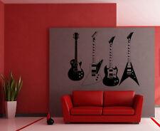 Wall Vinyl Art Sticker 4 Guitars Musical Instrument Music Rock Decor Decal hi228