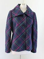 Talbots Navy Blue Pink Green Plaid Oversized Collar Wool Blend Jacket Size 10