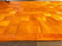 Orange Patchwork-Teppich aus gefärbtem Kuhfell, 200cm x 150cm! NEU, RUG