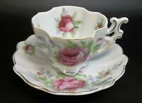 Demitasse Lefton China Hand Painted Tea Cup Saucer Porcelain Japan Pink Roses