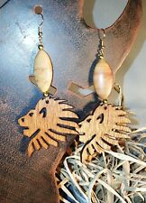 Wooden Lion Earrings w/Beautiful Stone - Handmade