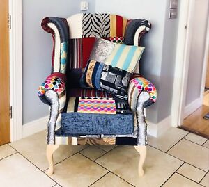 chesterfield bespoke patchwork queen anne chair