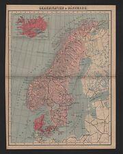 Landkarte map 1885: SKANDINAVIEN & DÄNEMARK. Schweden Finnland Norwegen Island