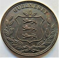 1889H GUERNSEY 8 Doubles, brown grading UNCIRCULATED.