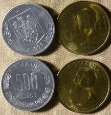 Romania : Lot 2 Coins 1999 500 Lei + 1991  50 Lei  Both Gem BU IR2832