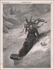CUPID on Snowshoes, WOMAN on TOBOGGAN, antique engraving, original 1880
