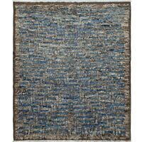 Thick-Plush Geometric Modern Moroccan Shaggy Wool Hand-Knotted Area Rug 8'x10'