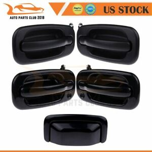 4X Front Rear Left Right Outer Door Handle +Tailgate Fits 00-06 Chevy GMC Black