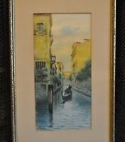 Vintage Original Watercolor Painting - Narrow Canal & Gondola - Venice, Italy