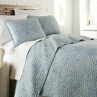 Lightweight 3-Piece Embroidered Brickyard Solid Color Quilt Set